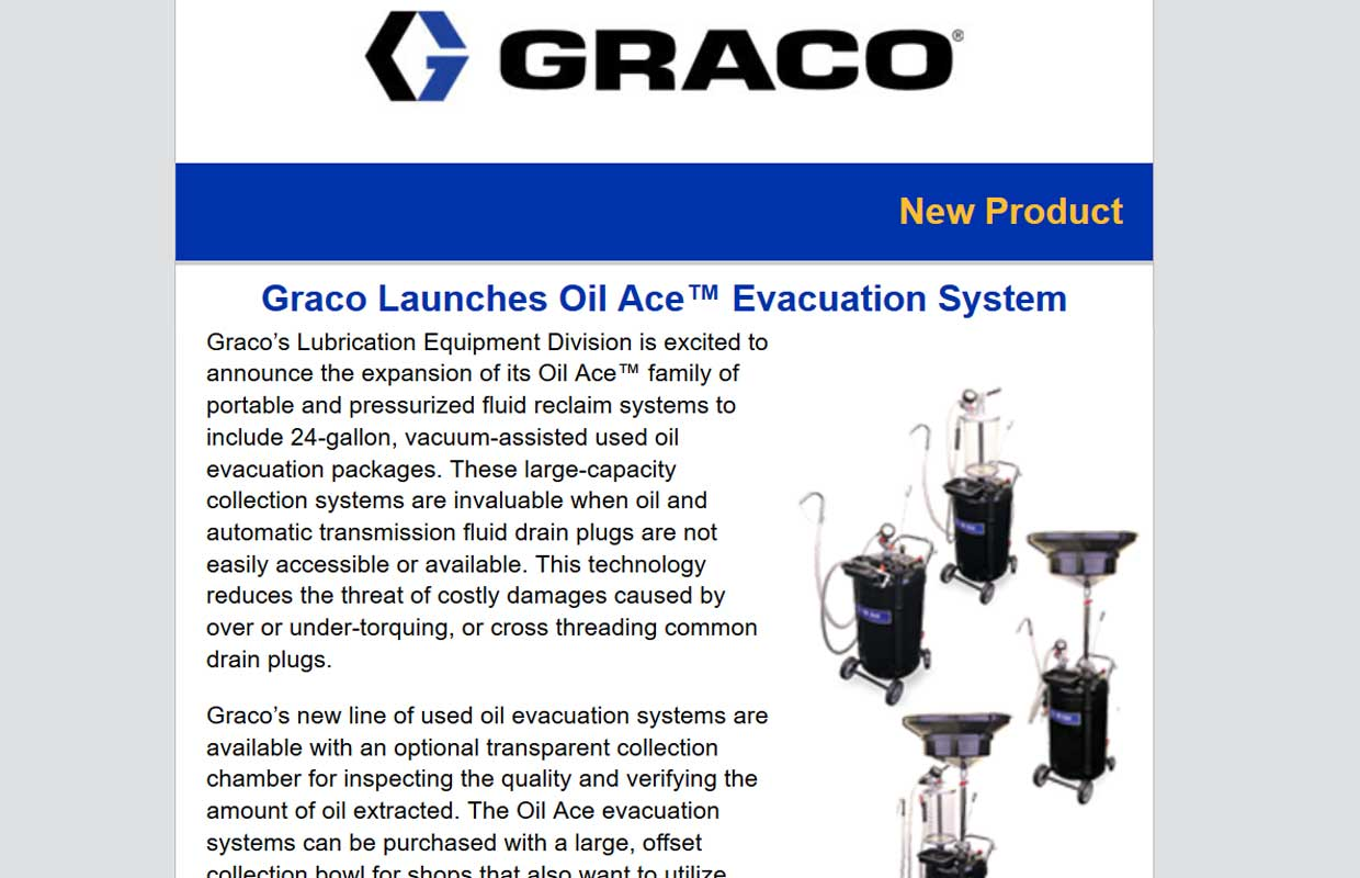 Graco Launches Oil Ace™ Evacuation System